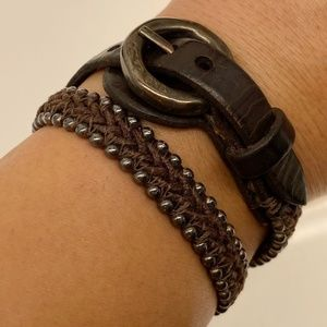 Uno De 50 Leather Silver Hand-Woven with Brown